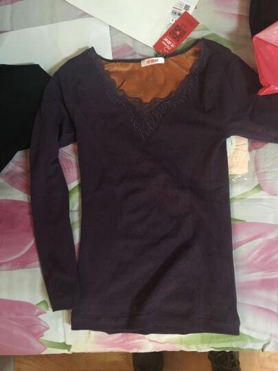 保暖内衣 女单件加绒加厚蕾丝紧身保暖上衣 花朵圆领-红色 上衣 均码-适合体重80-135斤 晒单图
