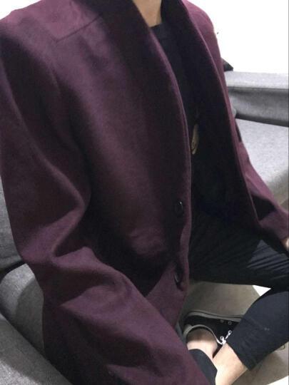 花花公子贵宾 毛呢大衣男2018秋冬外套新款休闲中长款羊绒呢子大衣风衣男 加厚酒红色 190/3XL 晒单图