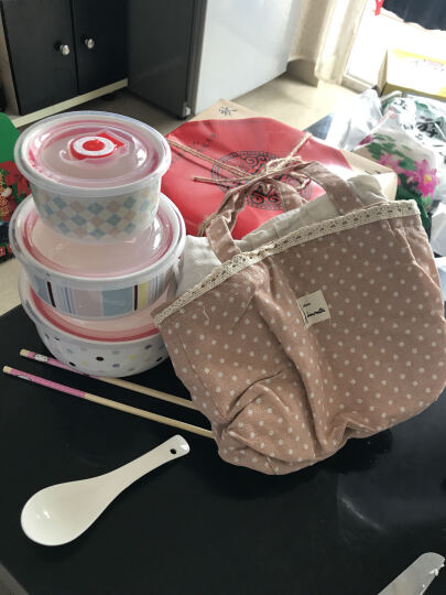 陶瓷保鲜碗三件套保鲜盒套装骨瓷泡面碗微波炉饭盒密封带盖便当盒 K配送勺筷+粉色保温袋 晒单图