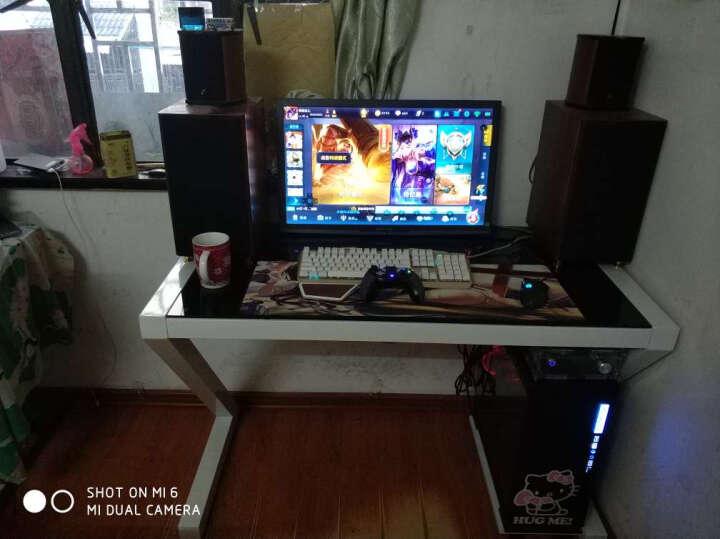 凡积 电脑桌 台式 家用 简约现代办公桌书桌学习桌钢化玻璃笔记本Z型电脑桌电竞桌椅写字桌 白色钢化玻璃-无键盘 长120cm宽60cm高75cm 晒单图