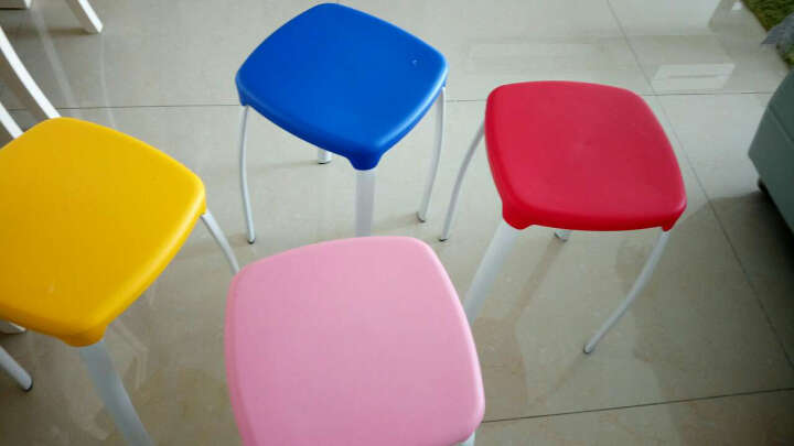 瑞帝凳子时尚创意彩色加厚凳子家用餐厅简易椅子餐椅高凳子彩色塑料凳子餐凳方凳 两个起售,下单一个不发货 粉色 晒单图