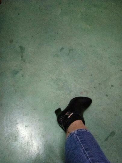 足颜冬季高跟鞋女短靴粗跟尖头真皮短筒显瘦百搭红色马丁靴大小码欧美中女靴子春秋单靴 黑色绒里 36 晒单图