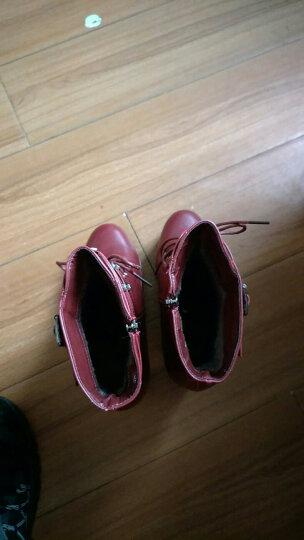 古奇天伦粗跟女靴马丁靴潮女短靴秋冬季2018新款短筒靴子高跟女鞋 8102酒红色 38 晒单图