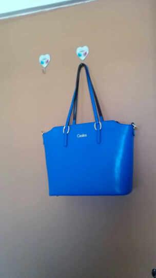 Cnoles/蔻一新款女包牛皮女士包包欧美时尚潮流十字纹牛皮手提包女单肩斜挎包 C009 蓝色 晒单图
