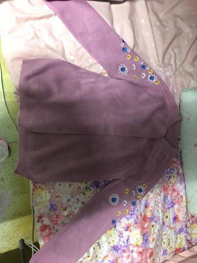 芭芘逸2017秋装新款女毛衣纯色修身刺绣薄针织衫女开衫外套小披肩上衣 粉红色 均码80-120 晒单图