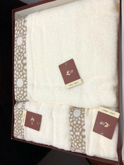 三利 纯棉色织提花方巾/毛巾/浴巾礼盒3件套 赭灰色 晒单图