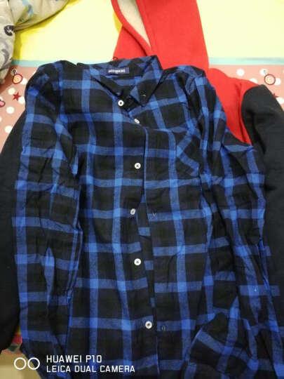 男童纯棉衬衫中大童10男童长袖衬衫12男孩纯棉13儿童格子衬衣15岁 宝蓝 160cm 晒单图