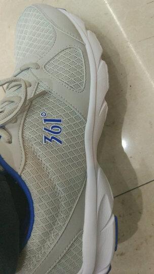 361度运动鞋男鞋革面四季休闲鞋网面透气跑步鞋子 N 中灰/黄 42 晒单图
