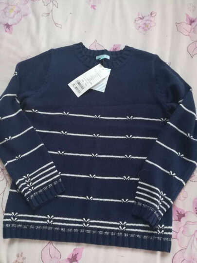 派克兰帝(PacLantic)套头线衣 女童条纹蝴蝶结套头线衣  JGMJ55201 深海蓝  140 晒单图