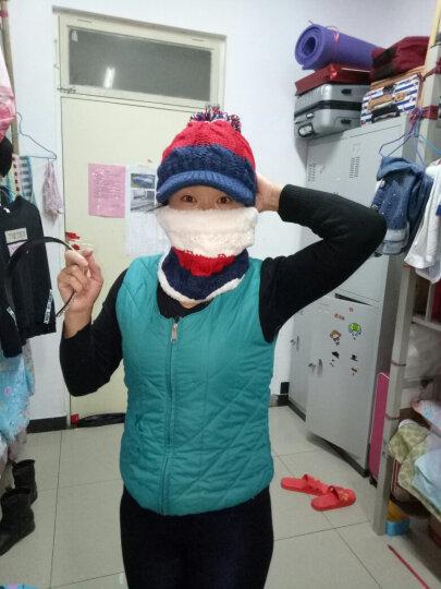 哲时 冬季女士针织毛线保暖帽子围脖套装百搭加绒加厚球球护耳帽MZ1308 藏蓝色 均码适合55-60头围 晒单图