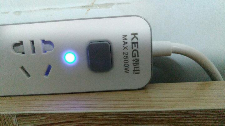 韩电(KEG)新国标插座/插排/插线板/接线板/拖线板 2USB口2孔位全长1.8米 支持2A充电 HD-ZSB-02KU2金属灰 晒单图