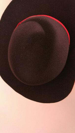 南珂 英伦波浪沿圆顶毛呢小礼帽女韩版潮黑色毛毡大檐帽爵士帽子 灰色小平顶毛呢帽-双层蝴蝶结 可调节毛呢帽54-58cm 晒单图