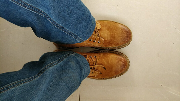 花花公子马丁靴男秋冬季英伦男士棉鞋加绒保暖高帮靴子真皮男靴短靴潮 黄棕 43 晒单图