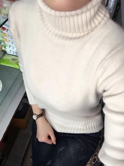 时愿 针织衫女2017秋冬新品韩版宽松中长款纯色高领套头加厚针织毛衣 LSF0107 白色 均码 晒单图