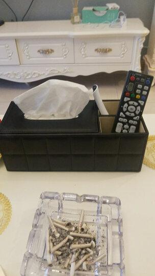 享乐居 皮质纸巾盒收纳盒家用办公室纸巾盒 羊皮纹带二格收纳 晒单图