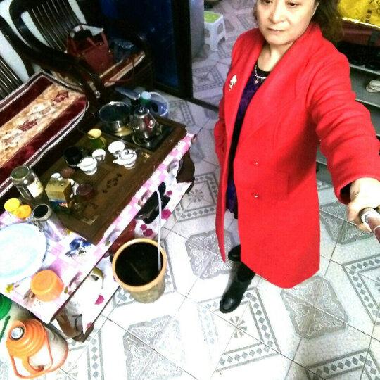 魅漾(meiyang) 2017秋冬新款女装韩版修身加厚毛呢大衣女中长款呢外套双排扣大衣 加棉-大红色 XXL(建议130-145斤) 晒单图