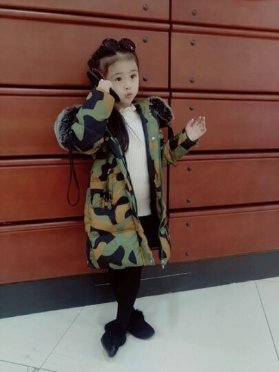七范 童装女童棉衣外套2017新款韩版儿童加厚棉服女孩中大童长款棉袄冬装潮 红色毛领款 120码 晒单图
