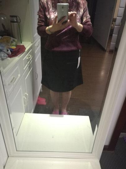 苏伊格 女黑色A字裙半身裙高腰A型中裙显瘦职业包臀裙修身百搭及膝盖大码019-1701 黑色 3XL/2尺4 晒单图