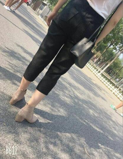 卡美尔威尼 短靴女真皮高跟尖头粗跟裸靴百搭女鞋冬中跟马丁靴女韩版女靴2019秋冬新款女士 裸色单里 39 晒单图