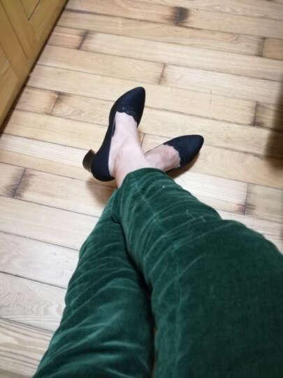 单鞋女粗跟时尚水钻浅口女鞋新款韩版圆头百搭中跟皮鞋女工作鞋女 ML6X303黑色 38 晒单图