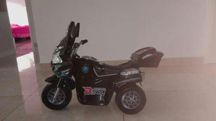 宝贝虎 新款童车摩托车儿童电动车三轮车宝宝电瓶车童车适合1-4岁小孩 酷黑色 晒单图