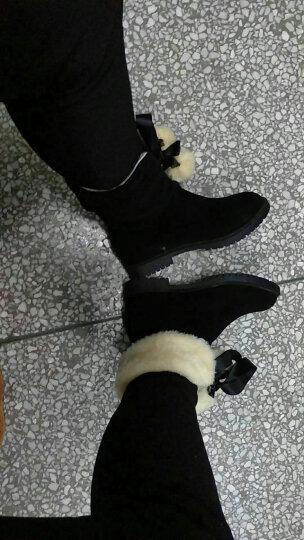 上夫欧洲站雪地靴女短筒靴子韩版百搭学生内增高冬季保暖加绒棉鞋 黄色 37 晒单图