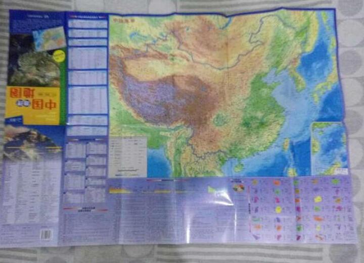 世界地理地图(防水 耐折 撕不烂地图 600mm*435mm) 晒单图