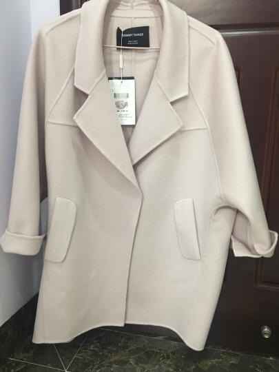 糖力冬装欧美女装轻奢纯手工100%羊毛双面呢大衣宽松毛呢外套 粉色 S 晒单图