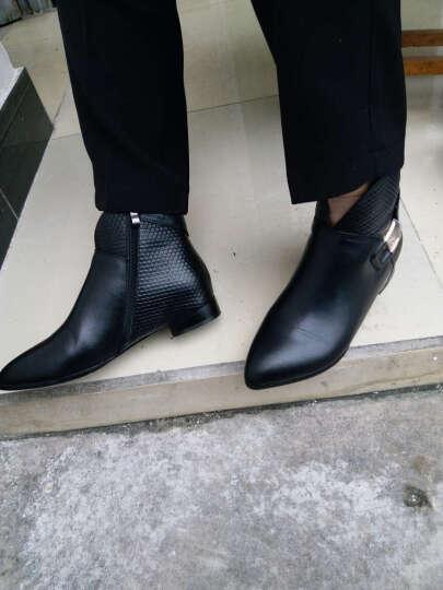 香弥萱 平底方跟短靴女尖头及踝靴真牛皮大码女鞋秋冬款低筒靴子111 黑色 38 晒单图