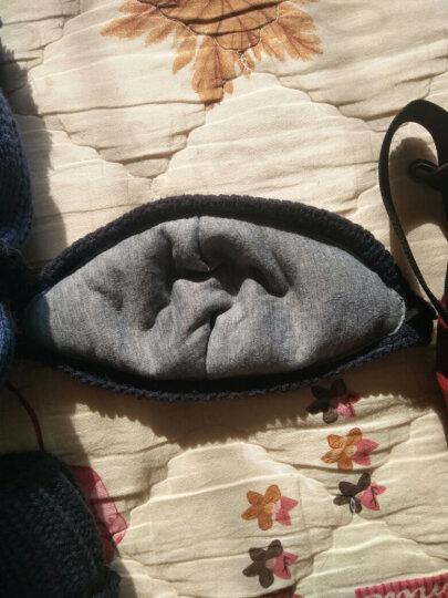 佳妍尚帽子女冬天韩版保暖护耳棉口罩毛线帽骑车加绒包头围脖冬季针织帽 藏青色 晒单图