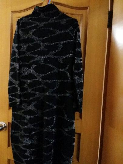 慕美意 长袖羊毛过膝长裙2017秋冬新品时尚百搭大码宽松针织连衣裙中长款品牌女装毛衣打底裙 黑色 均码 晒单图