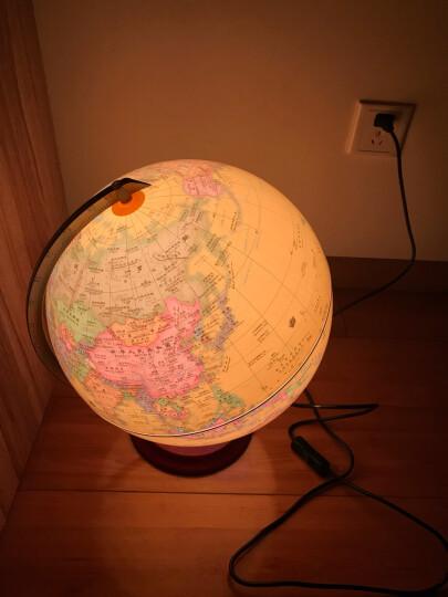 32CM PVC中英文政区海洋黄版地球仪(灯光型)(铝合金支架、实木底盘) 晒单图