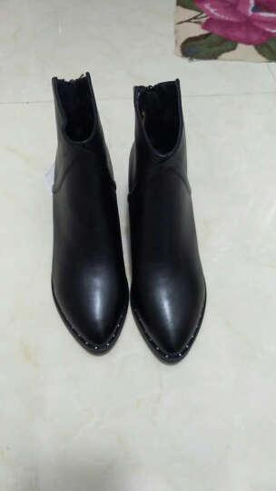 莱卡金顿粗跟短靴女靴 高跟马丁靴女英伦风女鞋韩版甜美冬季厚底防水台 黑色 36正码 晒单图