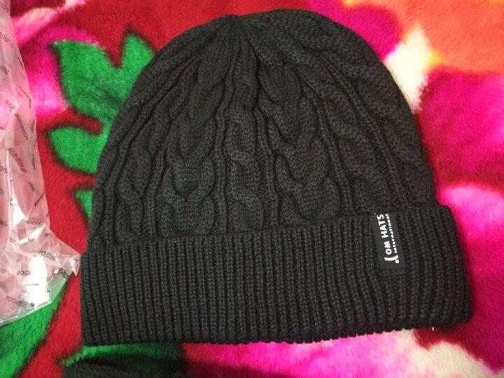 Siggi 帽子男冬天韩版潮时尚针织帽毛线帽加厚加绒防风套头帽 藏青色(帽子+围脖套件) 57.5CM有弹性 晒单图