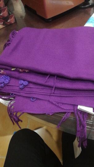 蝶舞翩翩仿羊绒围巾披肩女士秋冬季保暖围脖羊毛围巾两用 紫色 晒单图