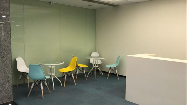星典伊姆斯靠背塑料电脑洽谈餐椅子咖啡奶茶实木北欧简约会客吧椅办公会议椅 升级款粉绿色 晒单图