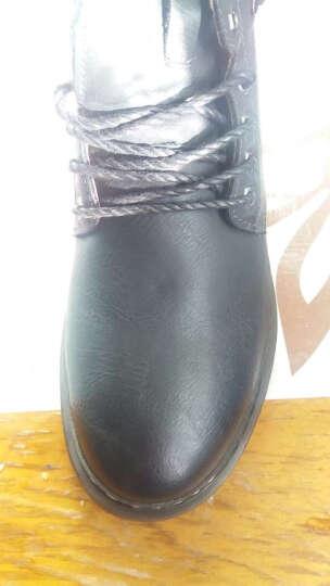 西域骆驼秋冬季保暖英伦男鞋日常休闲皮鞋中帮系带男士休闲鞋男靴 黑色加绒款 42 晒单图