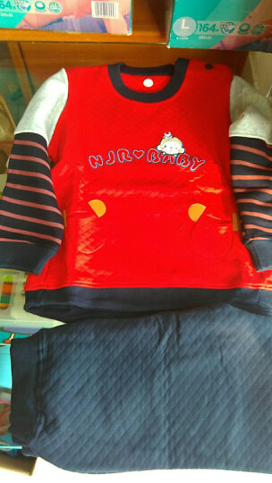 南极人(Nanjiren) 南极人宝宝春秋款夹棉套装婴儿衣服新款儿童卫衣套装 口袋小猴子-大红 110cm 晒单图