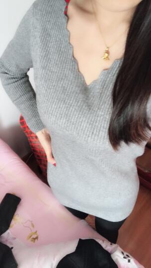 春装新款女装裙子套装女打底衫纯色修身针织连衣裙新品长裙春季2019新款夏衬衫女礼服长袖蕾丝 灰色连衣裙 均码 晒单图