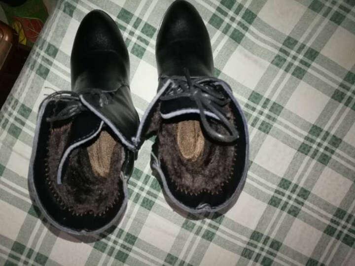 缤梦短靴牛皮马丁女靴系带圆头侧拉链粗跟加棉靴子加绒中跟低筒靴秋冬季新款女鞋 皇冠款棉鞋 38 晒单图