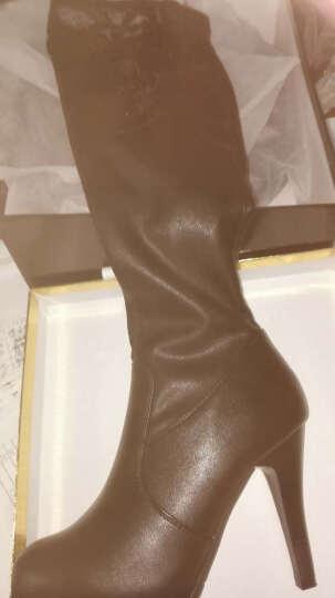莱卡金顿过膝长靴子细跟加绒保暖女冬季长靴子女高跟高筒骑士靴蕾丝性感弹力马丁靴 古铜色 40 晒单图