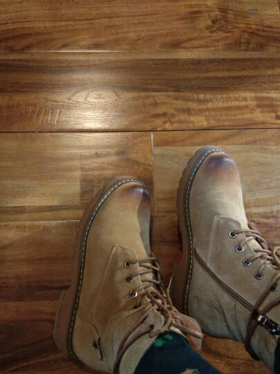 林羽森 2018秋冬季新款真皮粗跟短靴女时尚英伦风系带马丁靴学生靴子 欧洲站裸靴 黑色绒里 38 晒单图