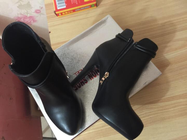 牧言短靴女2018秋冬季新品细跟高跟鞋防水台尖头女靴大码女鞋 A37  红色 #38 晒单图