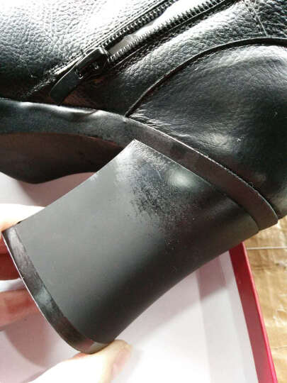 跑步传奇 高跟粗跟短靴女靴冬马丁靴子真皮裸靴尖头女士皮靴切尔西棉靴保暖加绒 黑色加绒【跟高9.5CM】 37【头层牛皮】 晒单图