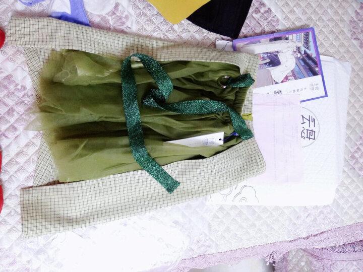 云思木想 青逸尘 拼接 潮流新款网纱短裙金葱绑带半身裙24416 青绿色 S 晒单图