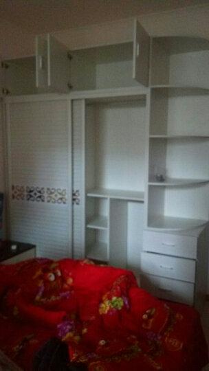 悠佳 衣柜 木 推拉门板式现代简约2门地中海移门大衣柜 暖白色 宽160CM主柜+顶柜+边柜 晒单图