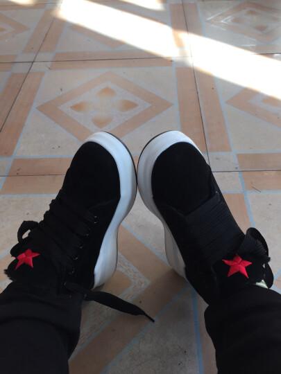JOOHEES爵熙女鞋 新款韩版平底内增高五角星休闲鞋女400 黑色-加绒 39 晒单图