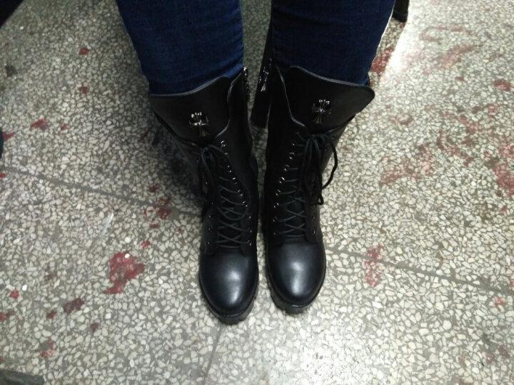 2018新款秋冬真皮女靴时尚粗跟厚底短靴侧拉链系带中筒靴马丁靴大码女靴子 加绒黑色 37 晒单图