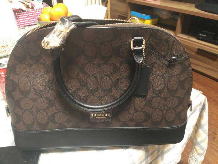 蔻驰 COACH 奢侈品 女士深棕色配黑底皮革手提斜挎包贝壳包 大号 F58287 IMAA8 晒单图