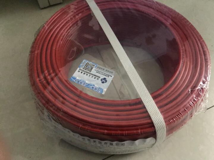 上上 电线 电缆ZA-BV4平方100米单芯硬线企标单股铜芯A级阻燃家装空调热水器 红色火线100米 晒单图